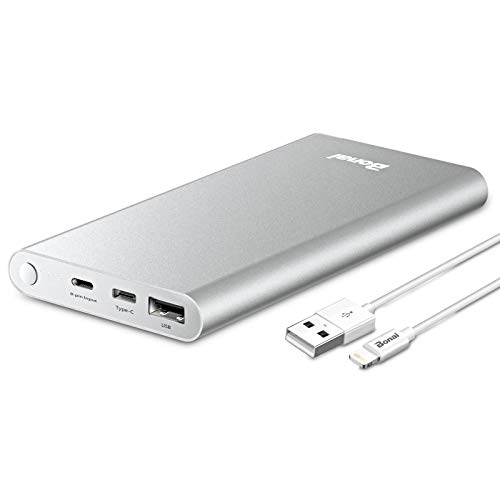 Power Bank, BONAI 12000mAh Portable Charge Travel, (Aluminum)(Powerful) USB C High-Speed 3.0A Input/Output Battery Compatible with iPhone iPad Samsung Android -Silver (Charging Cable Included)