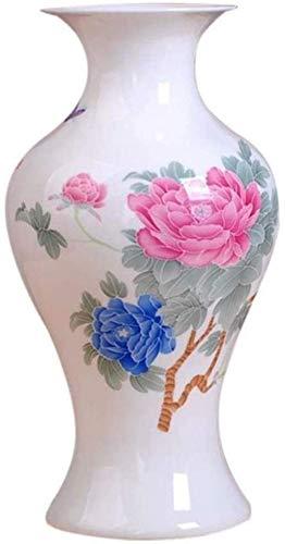 cvhtroe Jarrón mesa de centro de cerámica moderna de alto grado para flores decoración arte hogar salón dormitorio oficina escritorio blanco 13 x 23 cm decoraciones