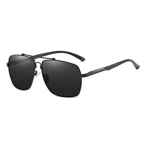 WOXING para Los Hombres Irrompible Gafas,Aire Libre Deportes Polaridad De Viaje Gafas De Sol,Moda Ligeras Metal Gafas,HD Antideslumbrantes Protección UV Gafas-Negro 14.6x5.1cm(6x2inch)