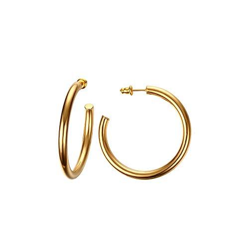 Changgaijewelry - Pendientes de aro para Mujer, bañados en Oro de 14 Quilates, Redondos, Gruesos, Redondos, Gruesos, hipoalergénicos