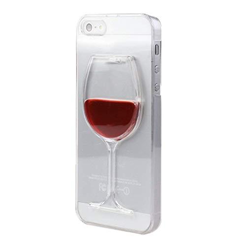 Apple iPhone 5 5s, HKA (TM) BOTE 3d Liquid Flow Copa Vino Tinto Cóctel Funda Funda para Iphone 5 5s