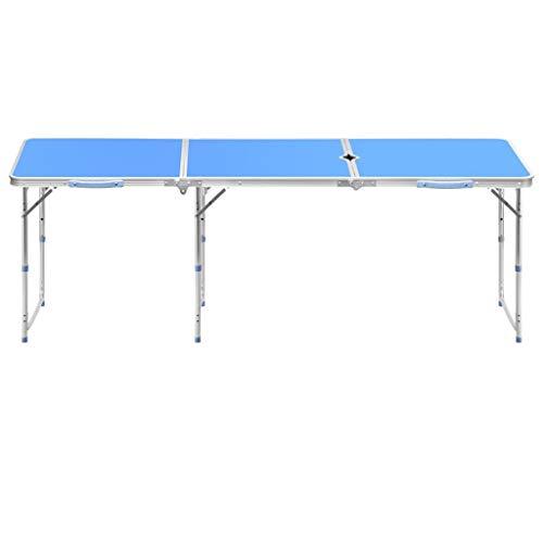 GXC Inklapbare tafel voor buiten, inklapbaar met gaten voor de paraplu, draagbaar, van metaal, inklapbaar in Mezzo Tavol