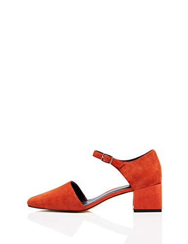 find. Block Heel Two Part Suede Mary Jane, Rojo Red, 38 EU