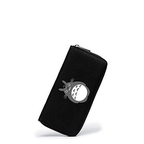 Nyrgyn Anime Totoro Brieftasche Kreditkartenhülle Portemonnaie Wallet Lange Schwarze Geldbörse mit Reißverschluss