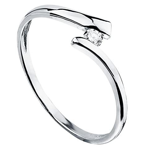Anillo de mujer compromiso aniversario Cruzado oro blanco 18 kilates 750 Mls circonita ideal pedida de mano (10)