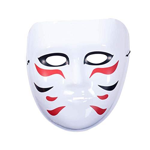 Amosfun Máscara de plástico japonesa de zorro kitsune japonés, máscara de disfraz de Halloween para cosplay (17 x 19 cm)