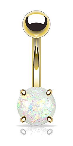 PSUM Unisex Bauchnabelpiercing Edelstahl Messing Vergoldet Harz Opal Imitation Glitzer Weiß 1.6mm x 10mm HBJ-NSD1909-WH