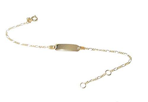 ECHT 333 Gold Gravur ID Armband, Armkette, Armreif für Kleinkinder mit Gravur Panzer mit Plättchen 14 bis 16 cm für Babys - Jungs und Mädchens Babyarmkette Gravur inkl.