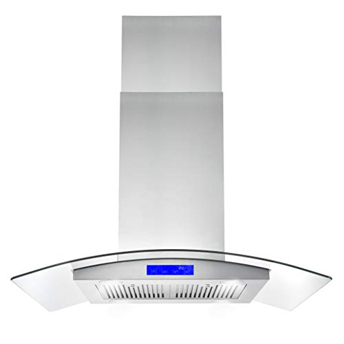 """Cosmo 668ICS900 Island Mount Range Hood with 380 CFM, Soft Touch Controls, 3-Speed Fan, Permanent Filters, LED Lights, Tempered Glass Visor, 36"""", Stainless Steel"""
