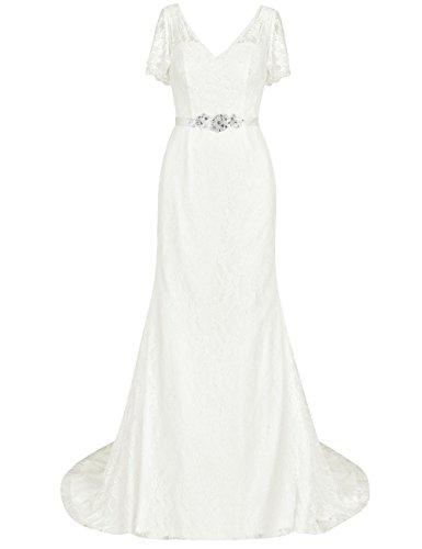 HUINI Brautkleider Hochzeitskleider V-Ausschnitt Lang Standsamt Abendkleider Spitzen Schnürung mit Schleppe Partykleider Elfenbein 42