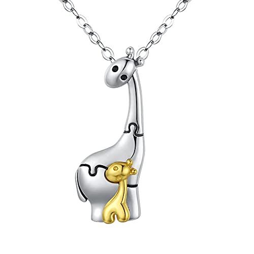 925 Sterling Silber Damen Halskette Mama Giraffe und Baby Giraffe Anhänger süßes Animations design Schmuck für Frauen kreativer Geschenke für Mama Tochter