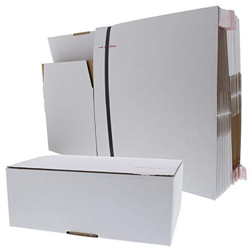 ToniTec Versandkarton FIX Faltkarton Karton für Amazon Prime Größe S 20 Stück mit Klebe Deckel und Automatikboden für schnellen Versand Weiß (310x230x110mm)