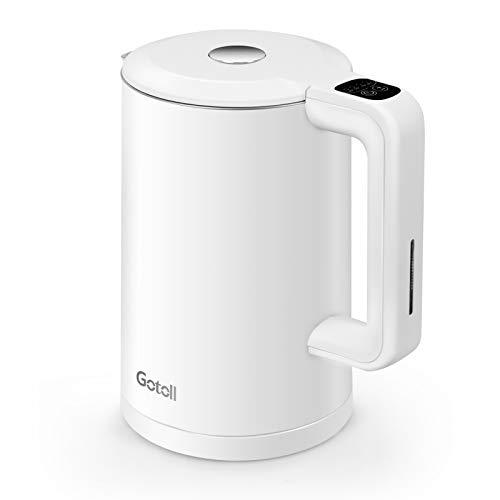 Gotoll Wasserkocher mit Temperatureinstellung, 1,7 L Elektrischer Wasserkessel, kochtrocknender Schutz, Doppelwand Design, 2200 W, Weiß