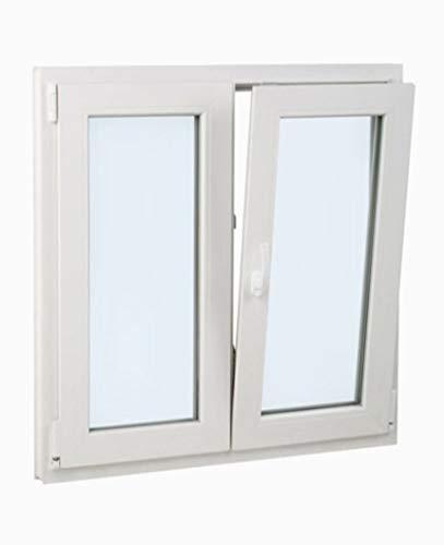 Finestra PVC 100 cm x 100 cm | 2 battenti | Battente Inclinabile | Elevato isolamento termico e acustico | Doppio vetro Climalit | Comodo | Resistente al sole | Apertura a destra