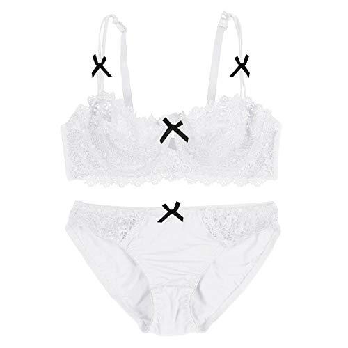 QPYUS Disfraces para Adultos Sujetadores Sexy + Bragas De Encaje Conjunto De Sujetador Interior-White_75B