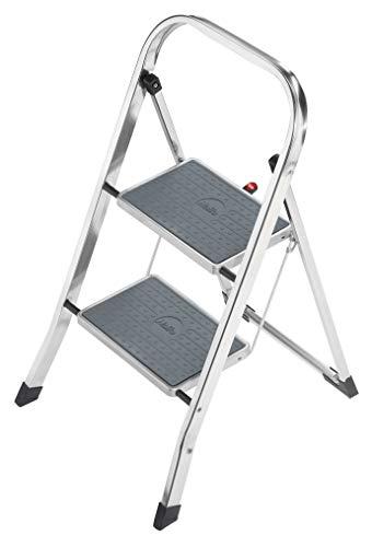 Hailo K60 StandardLine, Alu-Trittleiter, 2 Stufen, Klappsicherung, besonders leicht, einfach zu verstauen, belastbar bis 150 kg, silber, 4392-801