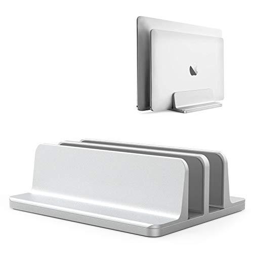 ノートパソコン スタンド PCスタンド 縦置き 2台収納 ホルダー幅調整可能 アルミ合金素材 OBENRI Vertical Laptop Double Stand for MacBook Pro Air Mini Clamshell Mode & All Notepc
