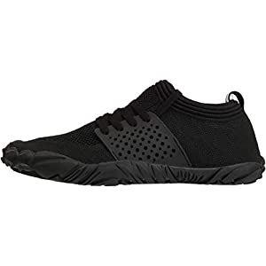 JOOMRA Womens Trail Running Minimalist Barefoot Shoes All Black Athletic Wide Toes Box Gym Trekking Toes Five Fingers Ladies Hiking Barefoot Sneakers Size 7