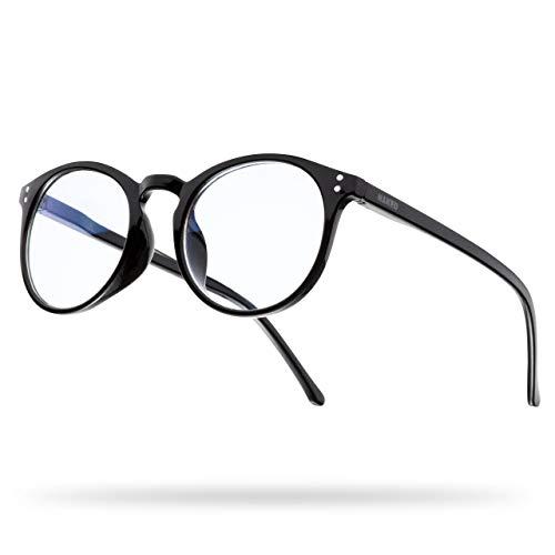 NAKED Optics Blaulichtfilter Brille (Panto, Schwarz)