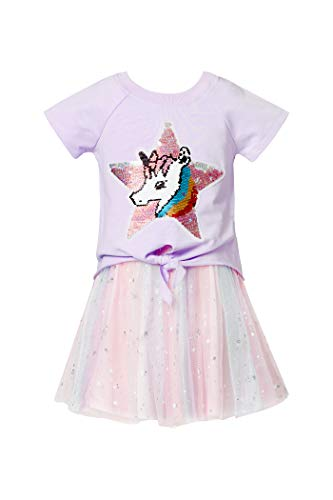 Truly Me, Little Girls' Two-fer Fit-N-Flare Style Dress with Pullover Star Unicorn Sequin Patch Graphic Top Tee Knit T-Shirt, Size 2T-6X (Lavender, 6X)