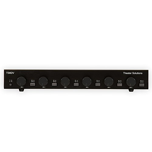 Theater Solutions TS6DV Six Zone Dual Source Selector with Volume Controls, Black