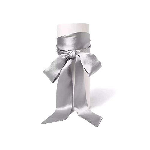 Stylish Soft Scarf Ribbon Scarf Long Skinny Satin Belt Sash Necktie Neck Scarf Choker for Women (gray)