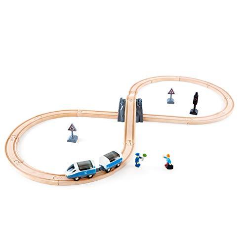 Hape-HAPE-E3729-Circuit de Train en Bois 8 Circuits de Voitures, E3729, Multicolore