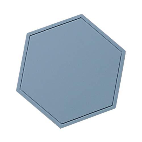 Cabilock Blaue Silikon Untersetzmatte Heiße Pads Hitzebeständige Topflappen Sechseck Untersetzer Tischsets für Home Hotel Küche Esstisch