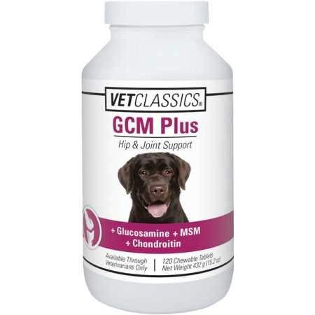 Vet Classics GCM Plus Hip & Joint Support for Dogs, Enhanced with Glucosamine, MSM & Chondroitin to Maintain Helathy and Flexible Hips & Joints, 120 Chewable Tablets