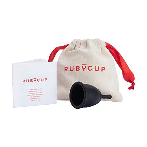 Ruby Cup - Copa menstrual hipoalergenica - talla S (pequeña, flujo ligero) – NEGRA – Incluye donación de copa. Perfecta para principiantes. Una alternativa a los tampones/compresas práctica y fiable.