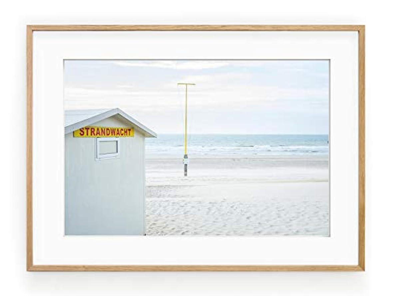 North Beach, Black Satin Aluminium Frame, with Mount, Multicolored, 30x40