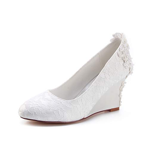Emily Bridal 440-1-4 Women's Wedding Shoes Closed Toe 3.15 Inches Wedge Heel Lace Satin Pumps with Lace Flower Imitation Pearl Bridal Shoes (EU40/9 B(M) US, Ivory)