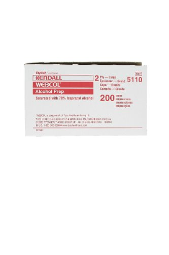 Kendall Webcol Large (2 Ply) Alcohol Preps, 200 per Carton (685110) Category: Insulin Injectors and Syringes