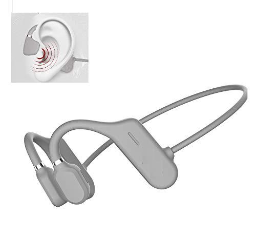 Bluetooth Knochenschall direktionale Audio Kopfhörer Sport mit Mikrofon, Wasserdicht, Headphones kabellos für Radfahrer, Joggen, Wandern (hellgrau)