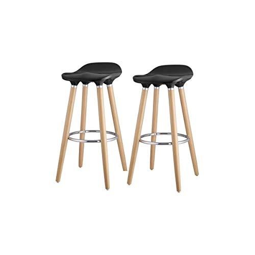 OSLO Lot de 2 tabourets de bar noir + pieds hetre massif - Contemporain - L 39 x P 40 cm