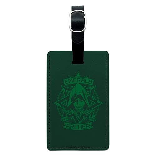 Arrow TV Series Emerald Archer Rectangle Leather Luggage Card Carry-On ID Tag