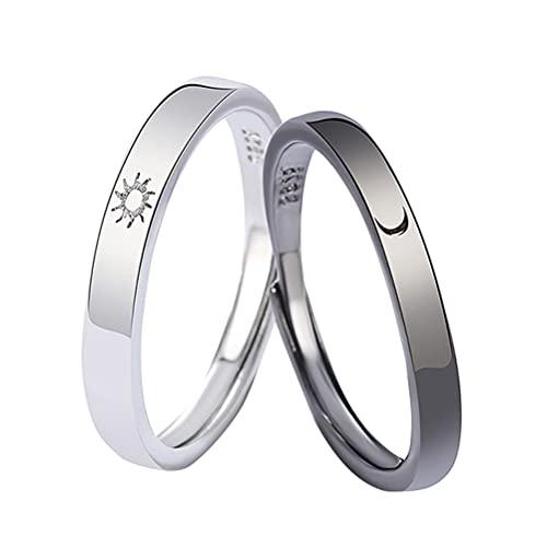 BTSEURY Anéis ajustáveis Sol e Lua para casal anéis de cobre polidos ajustáveis conjunto de anéis de noivado para casal vintage para namorada, namorado, mulher, homem e menina menino adolescente