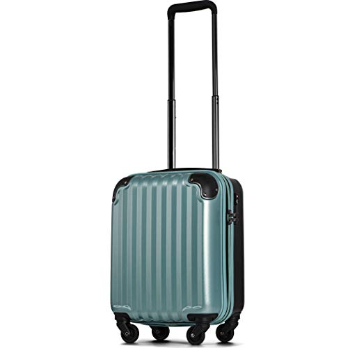 【JP Design】スーツケース キャリーケース キャリーバッグ 超軽量 tsaロック 容量アップ 拡張機能付 二枚仕切り ダブルキャスター8輪 LMサイズ ハードキャリー ファスナー(LM, ミントグリーン)