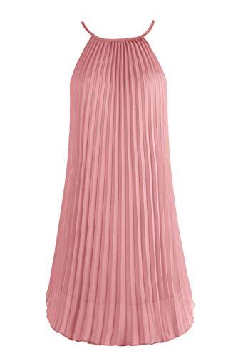 Ellames Women's Summer Spaghetti Strap Pleated Casual Swing Midi Dress with Belt Blush Pink Large