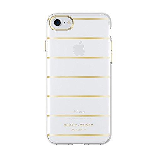 Sugar Paper - Carcasa para iPhone 8 y iPhone 7, diseño de Rayas, Color Dorado metálico y Transparente