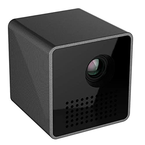 Mini proyector, proyector de video DLP portátil, HD completo 1080p compatible con batería incorporada, compatible con computadora portátil / TV / PS4 / teléfono para el hogar / entretenimiento al aire