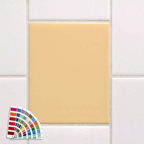 GRAZDesign Fliesenaufkleber 20x25cm Creme glänzend Bad/Küche einfarbig Fliesenfolie Klebefliesen Klebefolie auf Fliesen 10 Stück