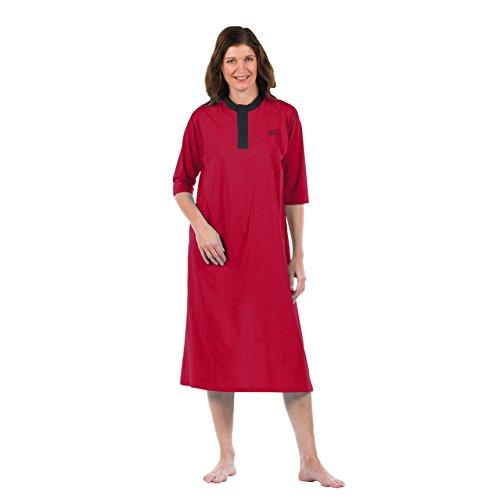 4Care Pflege Nachthemd, für Damen und Herren, Jersey, mit offenem Rücken, Klettverschluss vorne und Druckknöpfe im Nacken, 681 Rot, Größe S