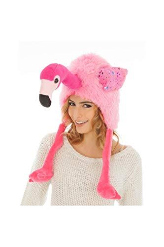 Chaks Tier Mütze Flamingo Einheitsgröße Erwachsene rosa Hut Fasching Karneval Spass-Mütze