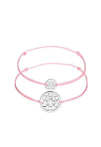 Elli Armband Damen Mutter Kind Set mit Lebensblume Symbol Grün Nylon in 925 Sterling Silber
