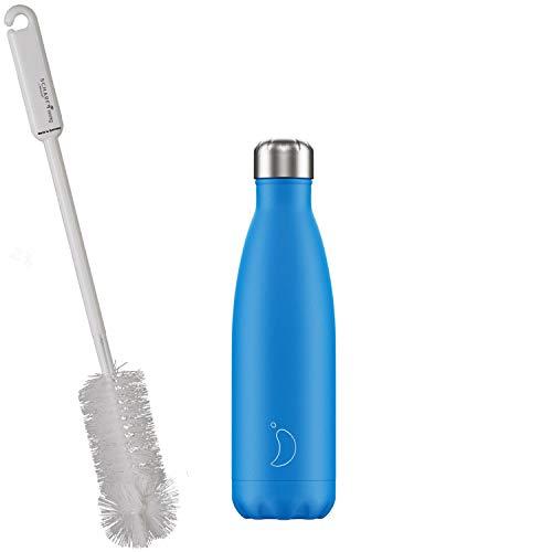 CHILLYs Trinkflasche & Isolierflasche Neon Blue Bottle - Edelstahl Thermos Wasserflasche - Flasche hält 24 Std. kalt & 12 Std. heiß + SCHARFsinnig Flaschenbürste