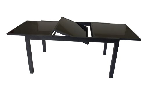DEGAMO Ausziehtisch Torino XL 180/240x100cm, Aluminium + Glas schwarz
