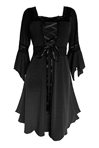 Dare to Wear Renaissance Corset Dress: Timeless Victorian Gothic Witchy Women's Plus Size Gown for Everyday Halloween Cosplay Festivals, Black 3X