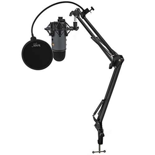 Blue Microphone Yeti USB Microphone (Slate) with Knox Shock Mount, Studio Stand and Pop Filter