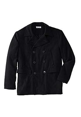 KingSize Men's Big & Tall Double-Breasted Wool Peacoat - Big - 4XL, Black by KingSize